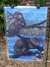 "Beavers chew Branches, river animal, decorative Garden Flag 12""x17.5"""