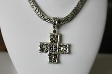 John Hardy Sterling Silver 18K Gold Necklace with Cross Pendant