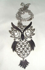 VINTAGE LARGE ARTICULATED OWL NECKLACE ON CHAIN