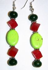 #12505 Green Jade, Red Cubed Jade & Lime Turquoise Gemstone Handmade Earrings