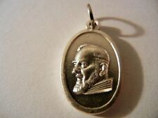 "Saint Padre Pio Bust Oval Medal 1"" tall  New!  Made in Italy! ""Pray for Us"""