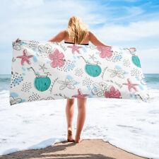 Tropical Hibiscus Floral Hawaiian Themed Bath or Beach Towel Pink Aqua Starfish