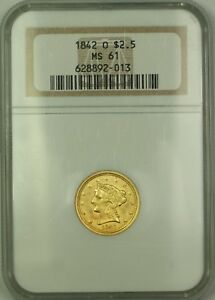 1842-O $2.50 Liberty Quarter Eagle Gold Coin NGC MS-61 *Rare* KRC