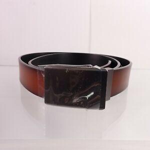 Perry Ellis Men's Portfolio Reversible Matte Gunmetal Plaque Belt 38 Black/Brown