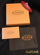 TOD'S Jewelry CUFF BRACELET RED STUDDED LEATHER Made In Italy