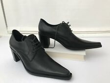 Women's Brogues Shoes 36 US 6 Black Chunky Heels Long Pointy Toe Space Italy