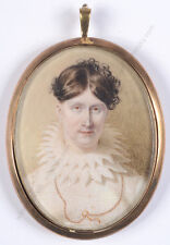 """Lady in white dress"", fine English miniature on organic wafer, 1810/15"