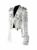 Women White Rock Punk Silver Long Spiked Studded Leather Brando Biker Jacket
