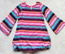 Mignone Girls Bubble Hem Dress, Sz 5, Long Bell Sleeves Pink Blue Purple Stripes