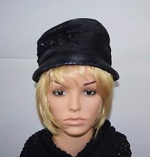 Vintage 50's Mademoiselle'S Blue Straw Black Hatband Cloche Hat - Union Label