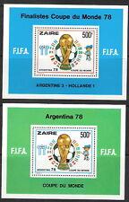 Zaire 1978 World Cup Championships Soccer Souvenir Sheet MNH (SC# 880-881)
