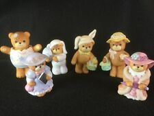 Set of 6 Vintage Enesco Lucy & Me Bear Figures Easter 1980's