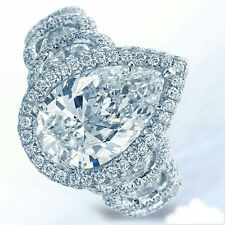 12ct Engagement Ring 925 Sterling silver White Pear-cut with half moon Halo Cz
