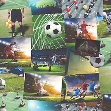 Fine Decor Wallpaper - Novelty Football Collage - Green Boys Kids Room - FD41915