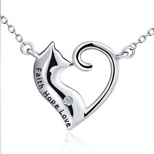 "925 Sterling Silver Cute Long Tail Cat ""Faith Hope Love"" Open Heart Necklace 18"""