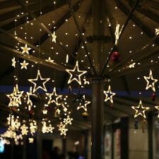 138LEDs Stern Lichterkette Hochzeit Fenster Deko Weihnachtsparty Lichtervorhang