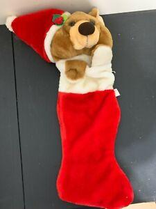 "Vintage 80s Smithy Teddy Bear Paws Christmas Stocking Soft Plush 23"" Santa Hat"