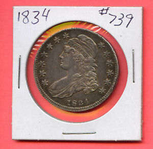 1834 50C Capped Bust Silver Half Dollar. Almost Uncirculated. Lot #353