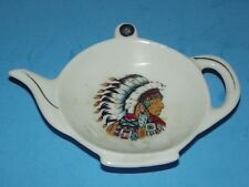 """Southwest Tea Bag Rest Holder Ceramic Vintage Japan 5""""x4 Man with Feathers Scene"""