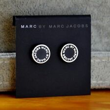 Marc Jacobs 'Classic Marc' Enamel Logo Disc Silver Black stud Earrings
