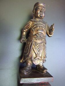 Antique Chinese Carving Warrior Gilt Wood 13'' H  Statue 1800's Rare VGC