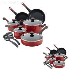 Paula Deen Riverbend COOKING SET, 12 Piece Nonstick COOKWARE SET, Red Speckle