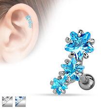 Triple Star Gem Surgical Steel Helix Tragus Cartilage Barbell Stud Earring
