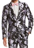 INC Mens Blazer Black Purple Size XL Metallic Floral Jacquard Slim-Fit $149 178