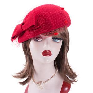 Women Wool Felt Queen Kate Beret Hat Veil Netting Cocktail Racing Pillbox A557