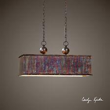 "28"" Oxidized Copper Metal Pendant Chandelier - 2 Light"