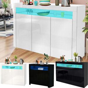 Modern High Gloss Sideboard Storage Cabinet w/LED Lighting Living Room Furniture