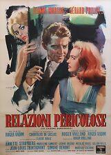"""""""LES LIAISONS DANGEREUSES 1960"""" Affiche originale italienne entoilée Roger VADIM"""