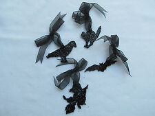 Small Witch CROW Cat BAT Black Glitter Ornaments w/ ribbon ~ Ragon House 4pc NEW