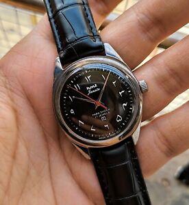Vintage HMT Urdu Black Janata 17 Jewels Mechanical Winding Wrist Watch For Men's