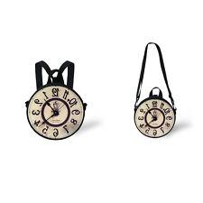 Clock Print Round Shoulder Bag Casual Cross Body Small Purse Women Kids Backpack