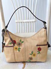 FOSSIL Vintage Natural Woven Straw Medium Satchel Shoulder Handbag Purse Brown