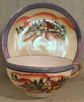 Hand painted lustre cup and saucer - made in Japan