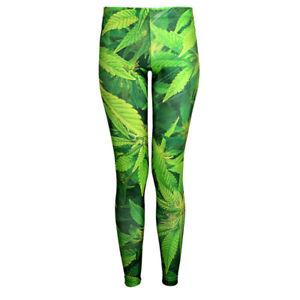 Sexy Galaxy Green Leafs 3D Print Leggings Sport Yoga Pants Fitness Dress -C2E5