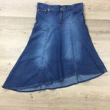 Bettina Liano Womens Chambray Skirt Asymmetrical Stretch Side Split Sz 12 (AZ2)