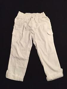 NWT Gymboree Girls Everyday Favorites White Cargo Roll-Up Pants Size 4 5 & 6