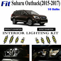 10 Bulbs Xenon White LED Interior Light Kit Package For Subaru Outback 2015-2017