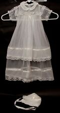 Vintage Baptism Gown and Bonnet Ivory Tulle and Lace THE SHEPHERD Christening