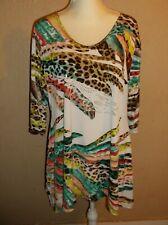 VALENTINA Feather Print Blouse SHIRT WOMENS L STRETCH Long Studs Gorgeous