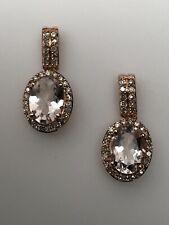 10k Rose Gold Oval-shaped Morganite & Natural Diamond Dangle Earrings
