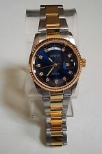 MEN'S  GOLD/SILVER FINISH BLUE DIAL FASHION DAY/DATE GENEVA INSPIRED STYLE WATCH