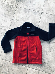 Columbia Fleece Red & Black Zipper Jacket boy or girl Youth Small Excellent Cond