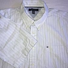 Tommy Hilfiger Men's XL Button Down White Striped Short Sleeve Shirt
