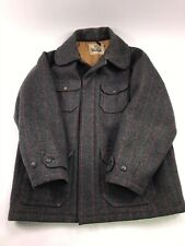 Men's Woolrich Wool Gray Plaid Mackinaw  Coat Jacket L 42