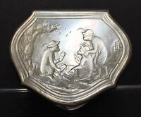 RARE & FINE Antique Chinese Carved Mother-of-Pearl Snuff Box Monkeys Play Cards