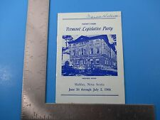 1966 23rd Vermont Legislative Party Booklet Halifax Nova Scotia Province S3485